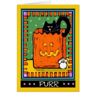 Cartes Chats noirs de Halloween, ronronnement