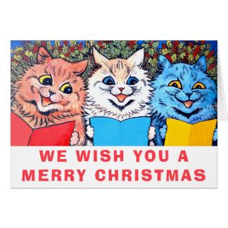 Cartes Chats vintages chantant le #holidayz de chants de