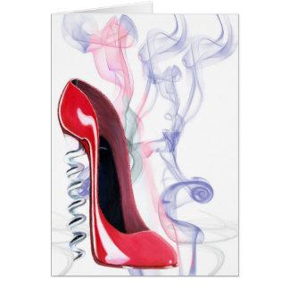 Cartes Chaussure stylet rouge de tire-bouchon fumant la