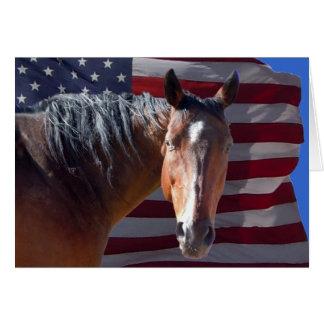 Cartes Cheval quart américain patriotique et blanc de