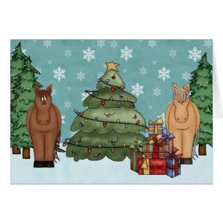 Cartes Chevaux, arbre de Noël et vacances mignons de