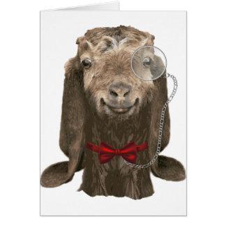 Cartes Chèvre drôle de Nubian avec le monocle