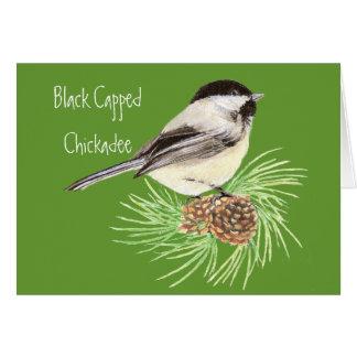 Cartes Chickadee couvert par noir - oiseau - nature