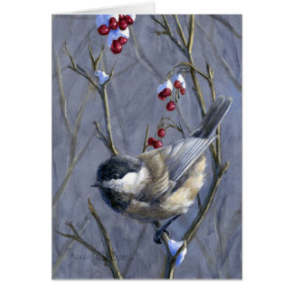 Cartes Chickadee et baies faits sur commande - Noël de