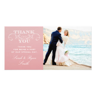 CARTES CHICS DE MERCI DE MARIAGE DU ROSE OMBRE CARTE AVEC PHOTO