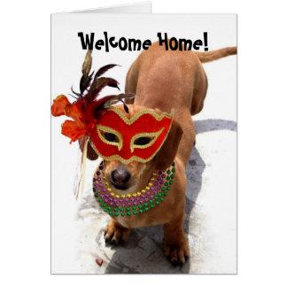 Cartes Chien à la maison bienvenu de basset allemand de