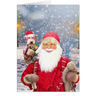Cartes Chien d'Airedale de cadeaux de Noël du père noël W