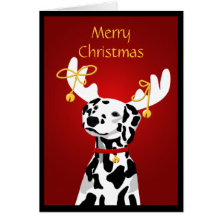 Cartes Chien dalmatien de Noël avec des andouillers de