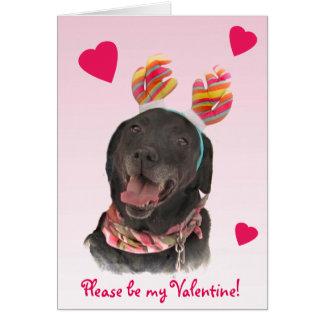 Cartes Chien noir Valentine de labrador retriever