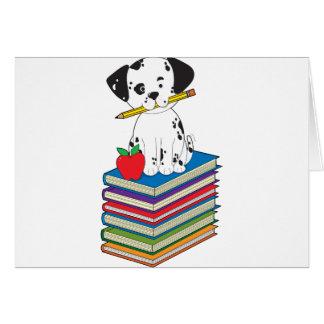 Cartes Chien sur des livres