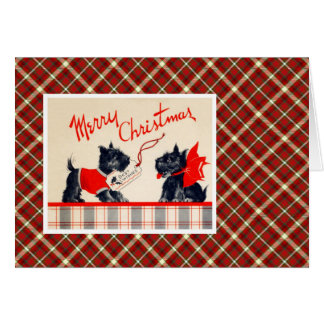 Cartes Chien vintage de Terrier de Noël
