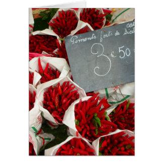Cartes Chillis Nice au marché, France