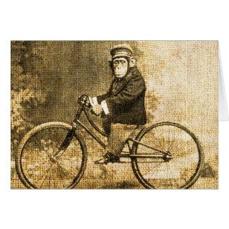 Cartes Chimpanzé vintage sur une bicyclette