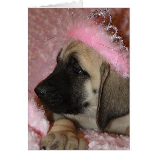 Cartes Chiot de mastiff de Valentine avec une couronne