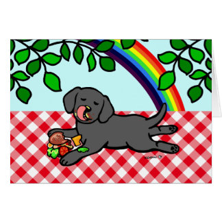 Cartes Chiot et hamburger noirs de Labrador