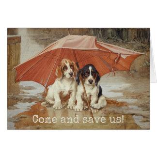 Cartes Chiots de chien de basset sous le parapluie CC0190
