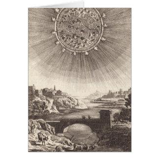 Cartes Ciel céleste d'astronomie antique avec Sun par le