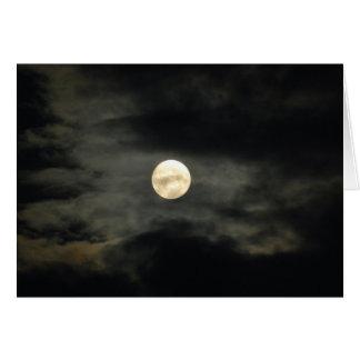 Cartes Ciel nocturne - pleine lune et nuages foncés