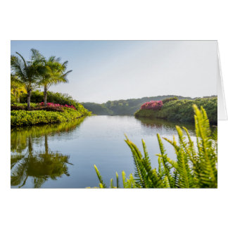 Cartes Ciel reflété dans le lac tropical encore