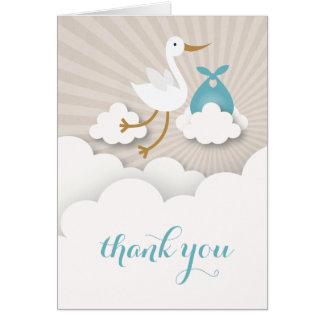 Cartes Cigogne avec le Merci bleu de baby shower de