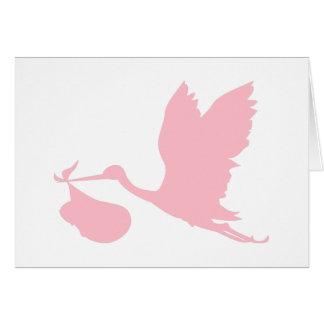 Cartes Cigogne rose