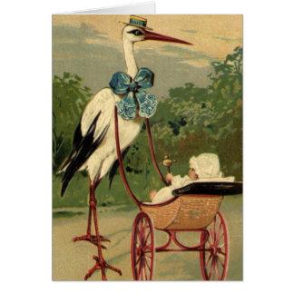 Cartes Cigogne victorienne vintage et voiture d'enfant