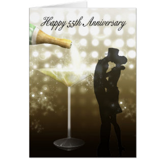 Cartes cinquante-cinquième anniversaire - Champagne