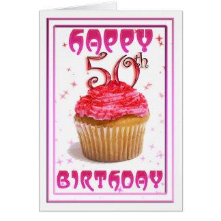 Cartes Cinquantième gâteau heureux de tasse douce