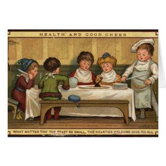 Cartes Circa 1880 : Un repas à Noël