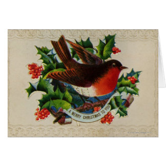 Cartes Circa 1900 : Un merle traditionnel de Noël