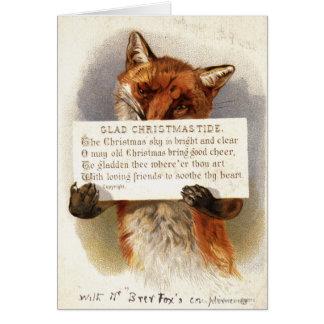 Cartes Circa 1900 : Un renard tient un vers de Noël