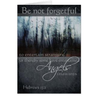 Cartes Citation d'ange de 13:2 d'Hébreux