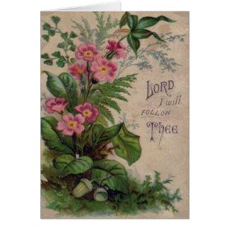Cartes Citation florale vintage d'écriture sainte de
