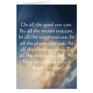 Cartes Citation vivante de John Wesley avec des nuages de
