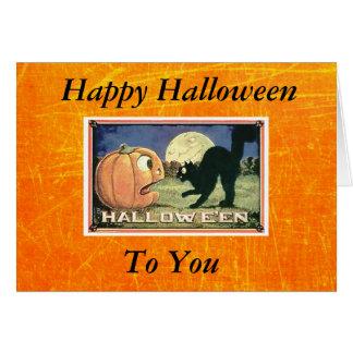 Cartes Citrouille heureux vintage de Halloween avec le