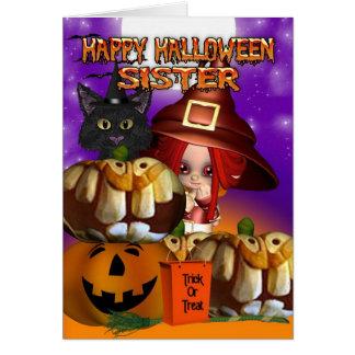 Cartes Citrouille Jack-o'-lantern de chat de sorcière de