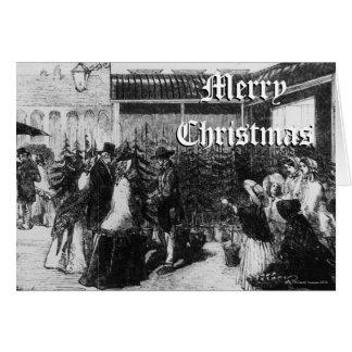 Cartes Clients choisissant des arbres de Noël, décembre