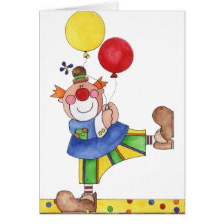 Cartes Clown avec des ballons