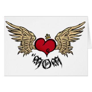 Cartes Coeur couronné urbain de MAMAN de tatouage avec