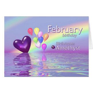 Cartes Coeur d'améthyste d'anniversaire de février