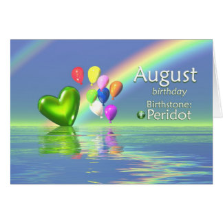 Cartes Coeur de Peridot d'anniversaire d'août