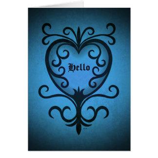Cartes Coeur gothique élégant de victorian dans le bleu