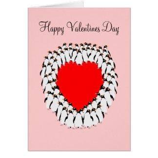 Cartes Coeur heureux de pingouin de jour de Valentines