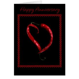 Cartes Coeur heureux de poivre de piment d'anniversaire