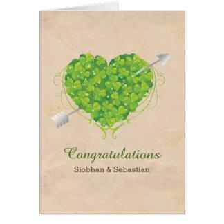 Cartes Coeur irlandais de shamrock de mariage