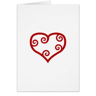 Cartes Coeur maori rouge