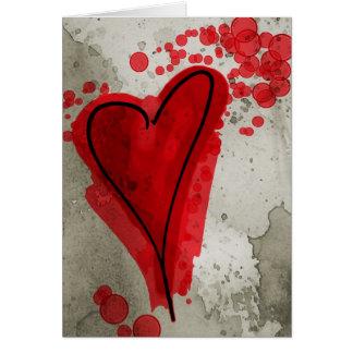 Cartes Coeur noir d'encre rouge