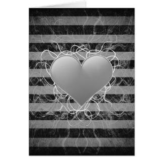Cartes Coeur noir et blanc d'emo punk gothique avec des