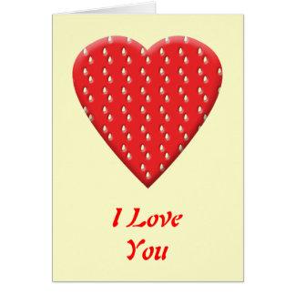 Cartes Coeur rouge de fraise