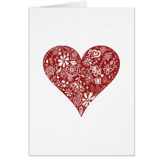 Cartes Coeur rouge de griffonnage